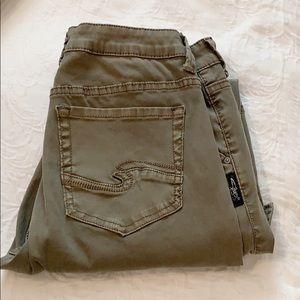 Silver army green skinny cargo jeans